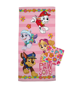 PAW Patrol 2-Piece Bath Towel and Wash Cloth Set, 100% Soft Terry Cotton, Pink - FPI Ventures