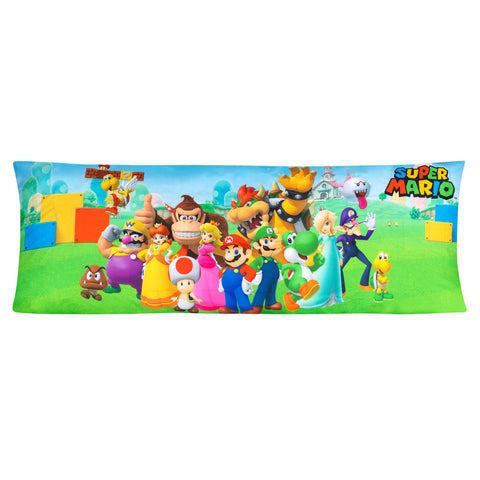 "Super Mario Body Pillow Cover with Zipper, Kids Bedding, 20""x54"" - FPI Ventures"