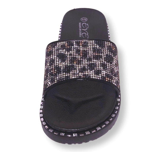 Womens Slide Sandal Shoes Rhinestone Flip Flop Platform Sandals,Purple/Pink/Gold, Size 5-10 - FPI Ventures