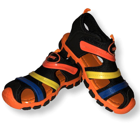 Boys Sandals Rainbow Shoes Toddler and Little Kids Closed Toe Sandal, Black Orange, Sizes 9-13 - FPI Ventures