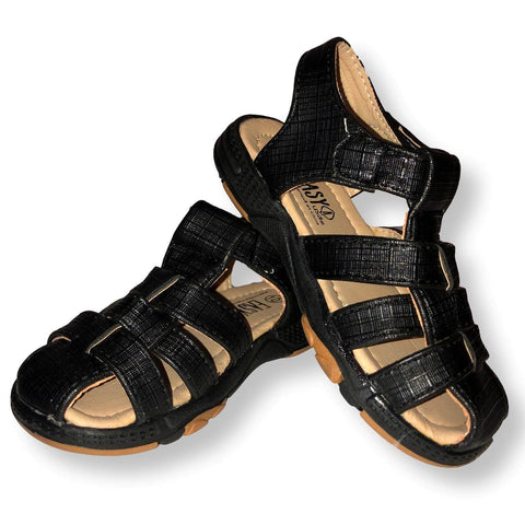 Boys Sandals Toddler Faux Leather Velcro Shoes, Black and Brown, Size 5-10 - FPI Ventures