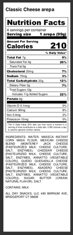 arepa nutrition facts