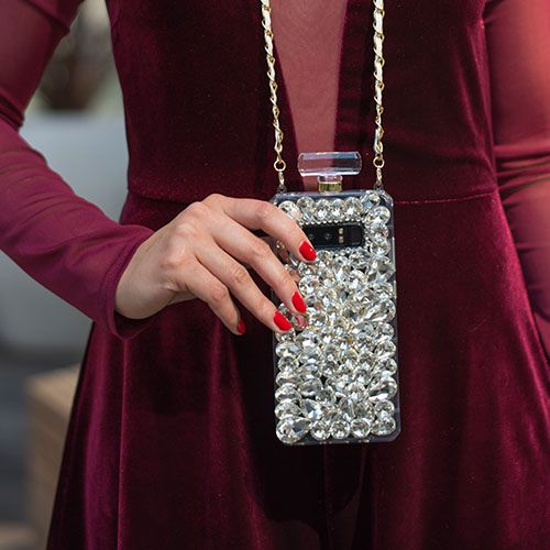 Handmade Silver Stones Bling Bottle Case Note 8 - Bling Cases.com