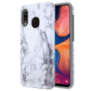 Hybrid Marble White Grey Case Samsung A20/A50 - Bling Cases.com