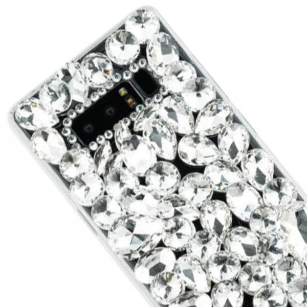 Handmade Bling Silver Stones Case Note 8