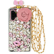 Handmade Pink Flower Bling Bottle Case Samsung Note 10 Plus