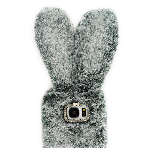 Bunny Fur Case Grey Samsung S7 Edge - Bling Cases.com