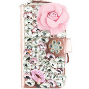Handmade Pink Flower Bling Wallet Detachable Samsung S9