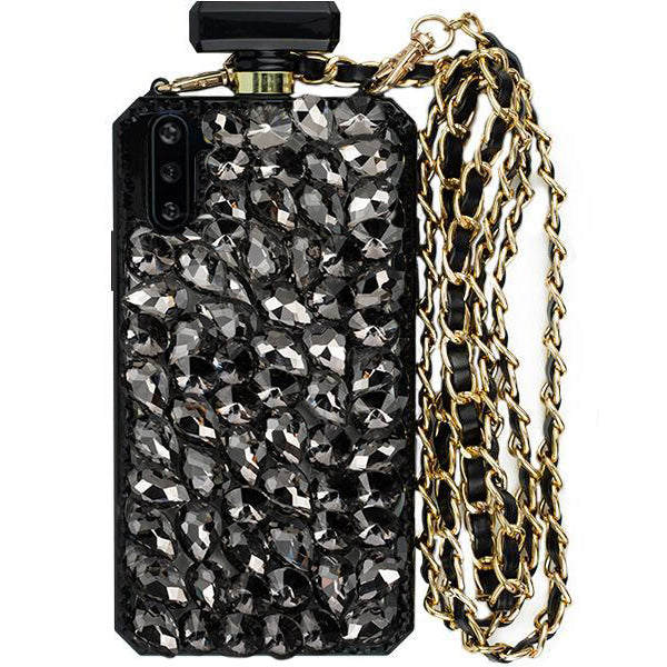 Handmade Bling Black Bottle Case Note 10 Plus