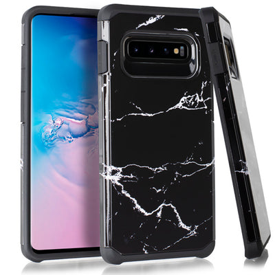 Marble Hybrid Black Case Samsung S10 Plus - Bling Cases.com