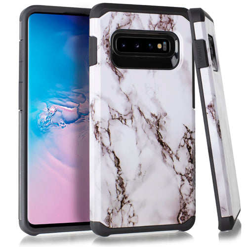Marble Hybrid White Case Samsung S10 Plus - Bling Cases.com