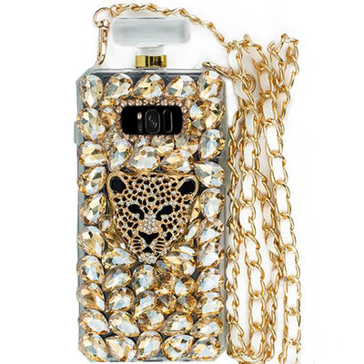 Handmade Cheetah Gold Bottle Case Samsung S8