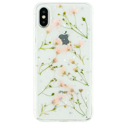 Real Flowers Pink Green Leaves Iphone 10/X/XS - Bling Cases.com