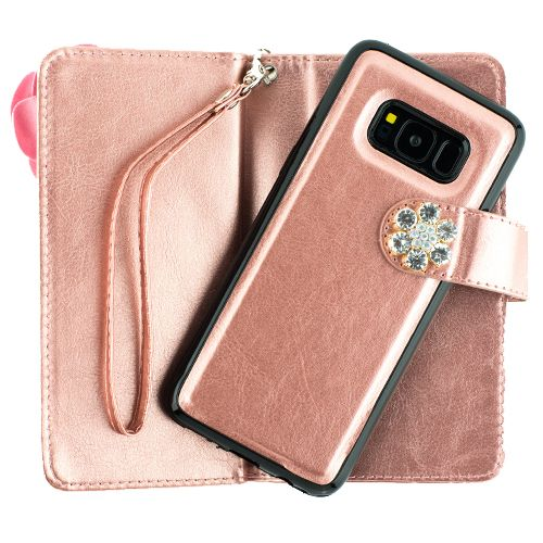 Pink Flower Bling Detachable Wallet Samsung S8 - Bling Cases.com
