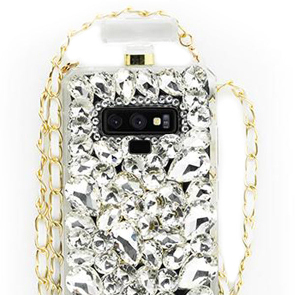 Handmade Silver Stones Bling Bottle Case Note 9
