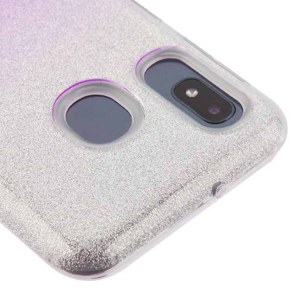 Glitter Purple Silver Case Samsung A10E - Bling Cases.com
