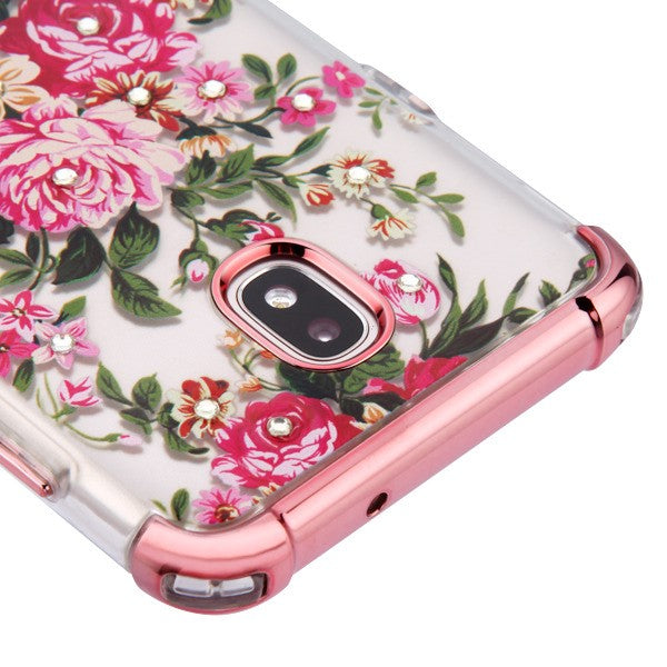 Flowers Bling Rose Gold Skin J7 2018 - Bling Cases.com