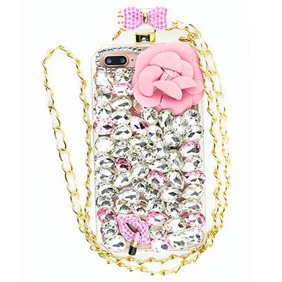 Handmade Pink Flower Bling Bottle Iphone 7/8 Plus - Bling Cases.com
