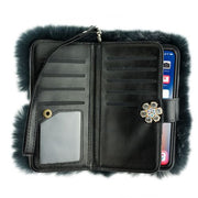 Fur Grey Wallet Iphone 10/X/XS - Bling Cases.com