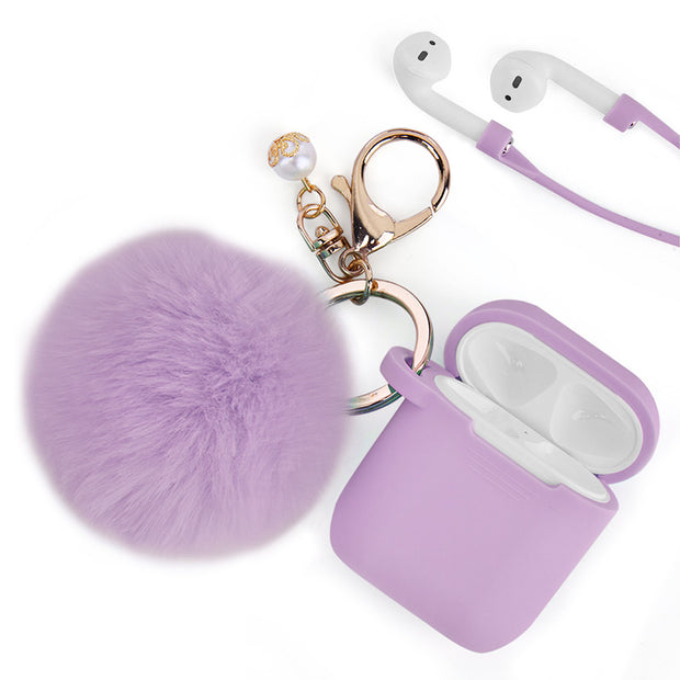 Furry Ball Purple Airpods 1/2 - Bling Cases.com