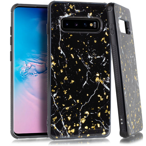 Marble Flake Black Case Samsung S10 - Bling Cases.com