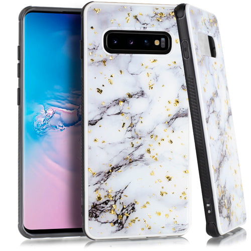 Marble Flake White Case Samsung S10 Plus - Bling Cases.com