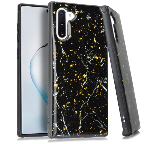 Marble Flake Black Case Note 10 - Bling Cases.com
