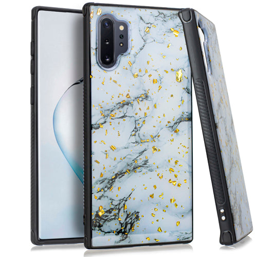 Marble White Flake Case Note 10 Plus - Bling Cases.com