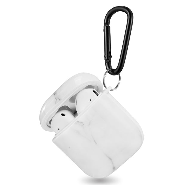 White Marble Airpods 1/2 - Bling Cases.com