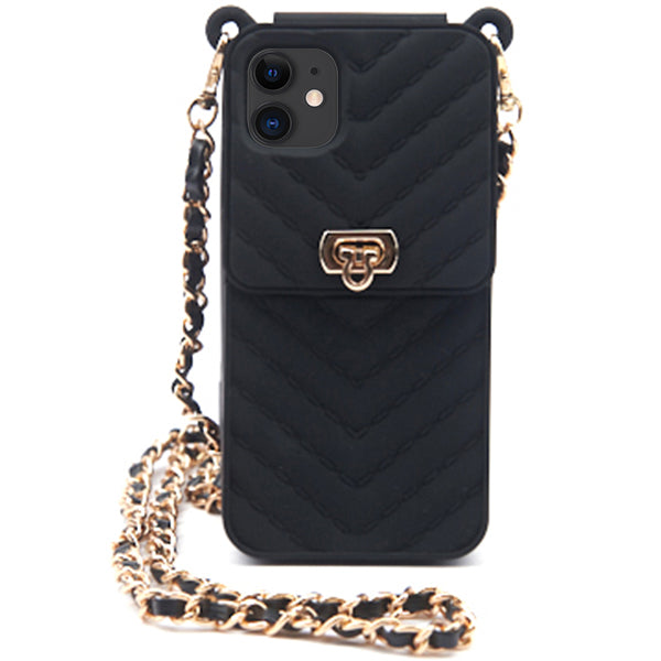 Cross-body Silicone Pouch with Iphone 11