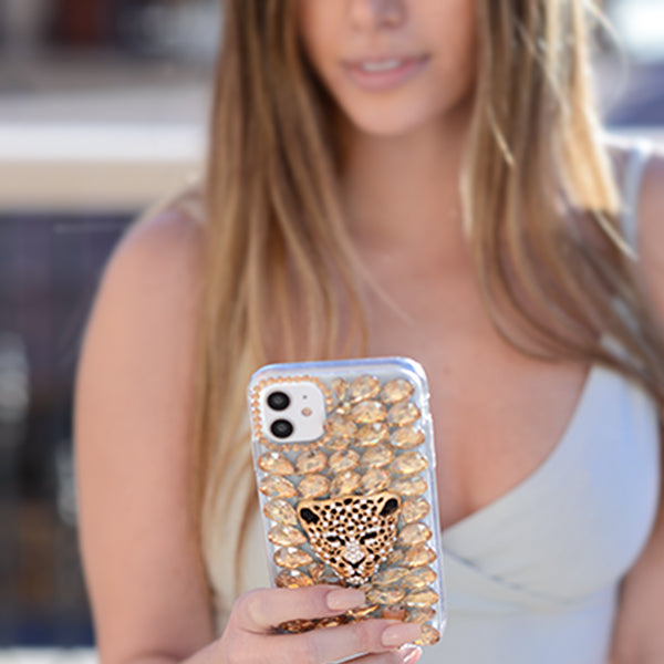 Handmade Cheetah Bling Gold Case Samsung A51