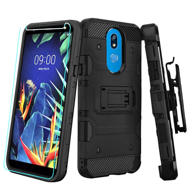 Military Grade Holster Case Black LG K40 - Bling Cases.com