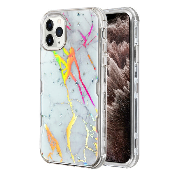 Heavy Duty Marble Silver Iphone 11 Pro - Bling Cases.com