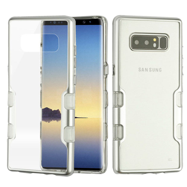 Hybrid Clear Silver Case Samsung Note 8 - Bling Cases.com
