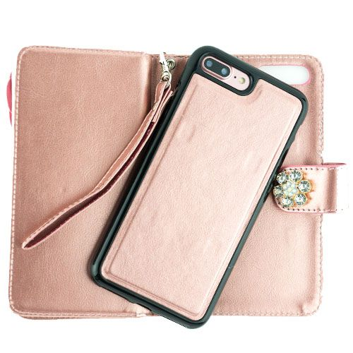 Bling Detachable Fox Rose Gold Wallet Case Iphone 7/8 Plus - Bling Cases.com