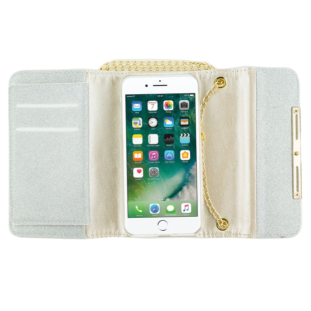Glitter Detachable Purse Silver Iphone 7/8 - Bling Cases.com