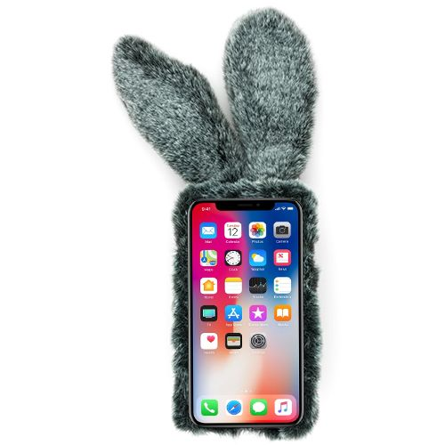 Bunny Fur Grey Case IPhone XR - Bling Cases.com