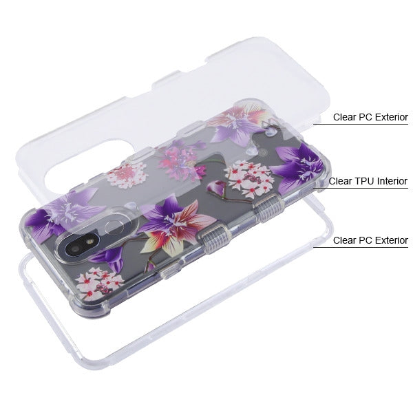 Flowers Purple Clear Case LG K40 - Bling Cases.com