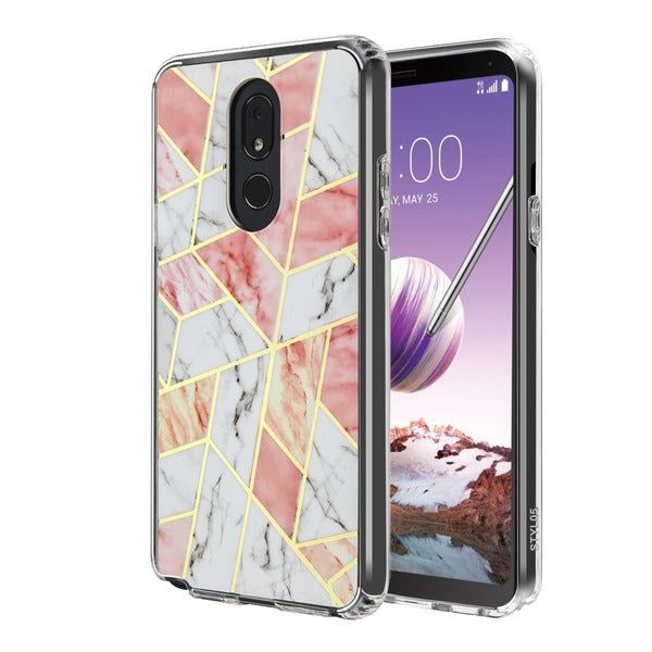 Pink/White Marble Stylo 5 - Bling Cases.com