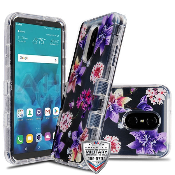 Hybrid Purple Flowers Case Lg Stylo 4 - Bling Cases.com