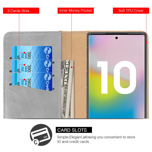 Detachable Wallet Grey Samsung Note 10 - Bling Cases.com