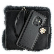 Fur Detachable Wallet Grey Samsung S9 - Bling Cases.com