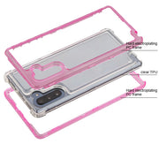 Hybrid Clear Pink Case Samsung Note 10 - Bling Cases.com
