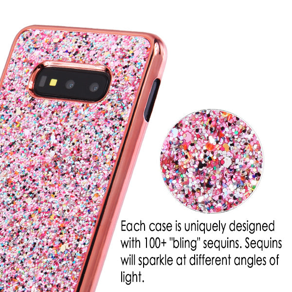 Bling Sequin Rose Gold Case Samsung S10E - Bling Cases.com