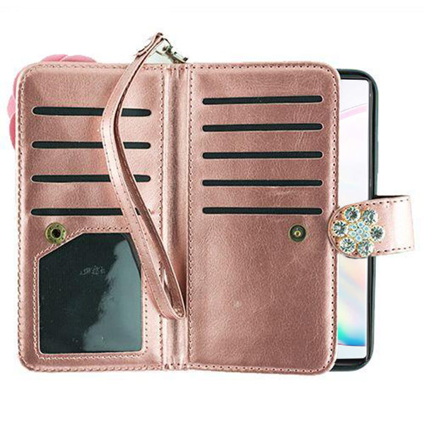 Handmade Bling Fox Rose Gold Wallet Note 10 Plus