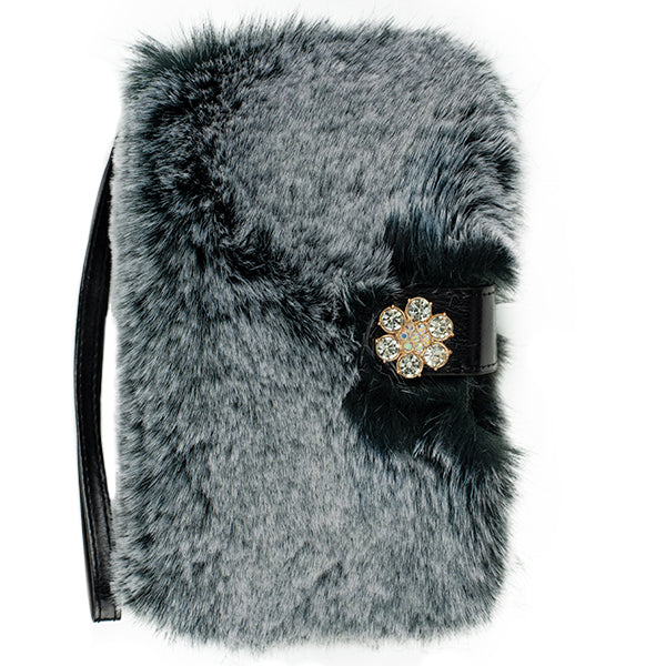 Fur Detachable Wallet Grey Samsung S9
