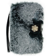 Fur Detachable Wallet Grey Samsung S9 Plus