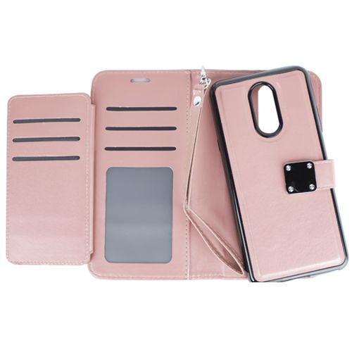 Detachable Wallet Rose Gold Lg Stylo 4 - Bling Cases.com