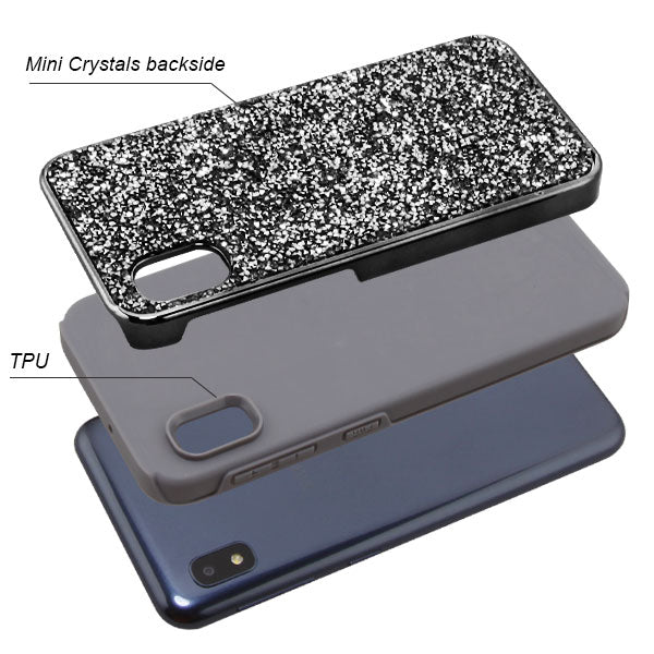 Hybrid Bling Case Grey Samsung A10E - Bling Cases.com