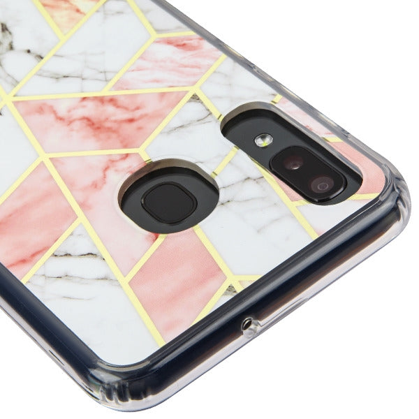 Marble Pink White Case Samsung A20/A50 - Bling Cases.com